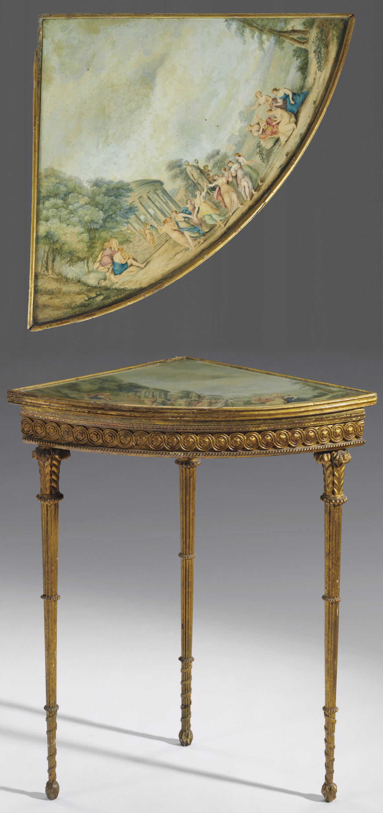 AN ITALIAN GILTWOOD AND POLYCH