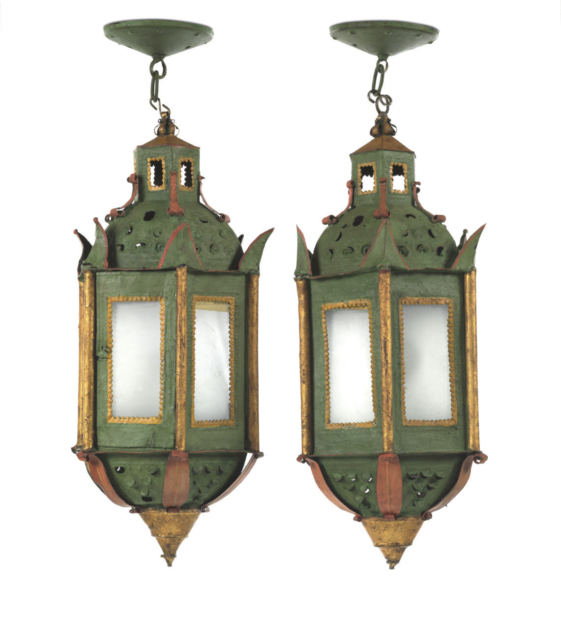 A PAIR OF ITALIAN GREEN AND PO