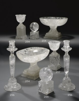 A PAIR OF ROCK CRYSTAL TAZZE