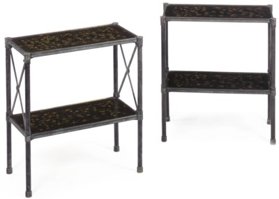A PAIR OF BLACK-AND-GILT LACQU