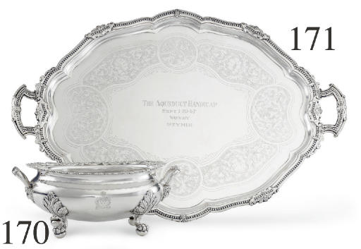 A SILVER PLATE TROPHY TRAY: THE AQUEDUCT, WON BY STYMIE