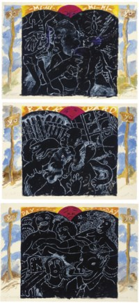 "Yo Sign signed, titled and dated 'R. Colescott 96 Yo Sign' (lower edge) watercolor, oil and graphite on paper  29½ x 41¾ in. (74.9 x 106 cm.)  Executed in 1996.  Yo Yard? signed, titled and dated '""Yo Yard?"" R. Colescott 96' (lower edge) watercolor, oil and graphite on paper  29½ x 41¾ in. (74.9 x 106 cm.)  Executed in 1996.  Yo Marriage signed, titled and dated 'R. Colescott Yo Marriage' (lower edge)  watercolor, oil and graphite on paper 29½ x 41¾ in. (74.9 x 106 cm.) Executed in 1996. 	 (3)"