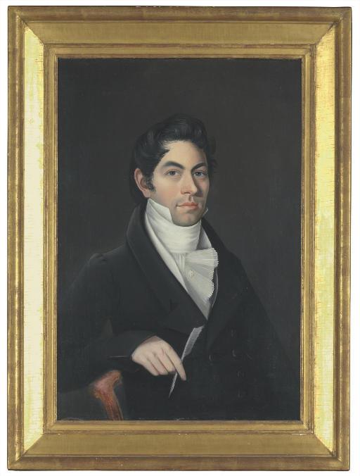 Portrait of a Man in a Black Coat Holding a Quill