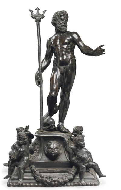 A BRONZE FIGURAL GROUP OF NEPT