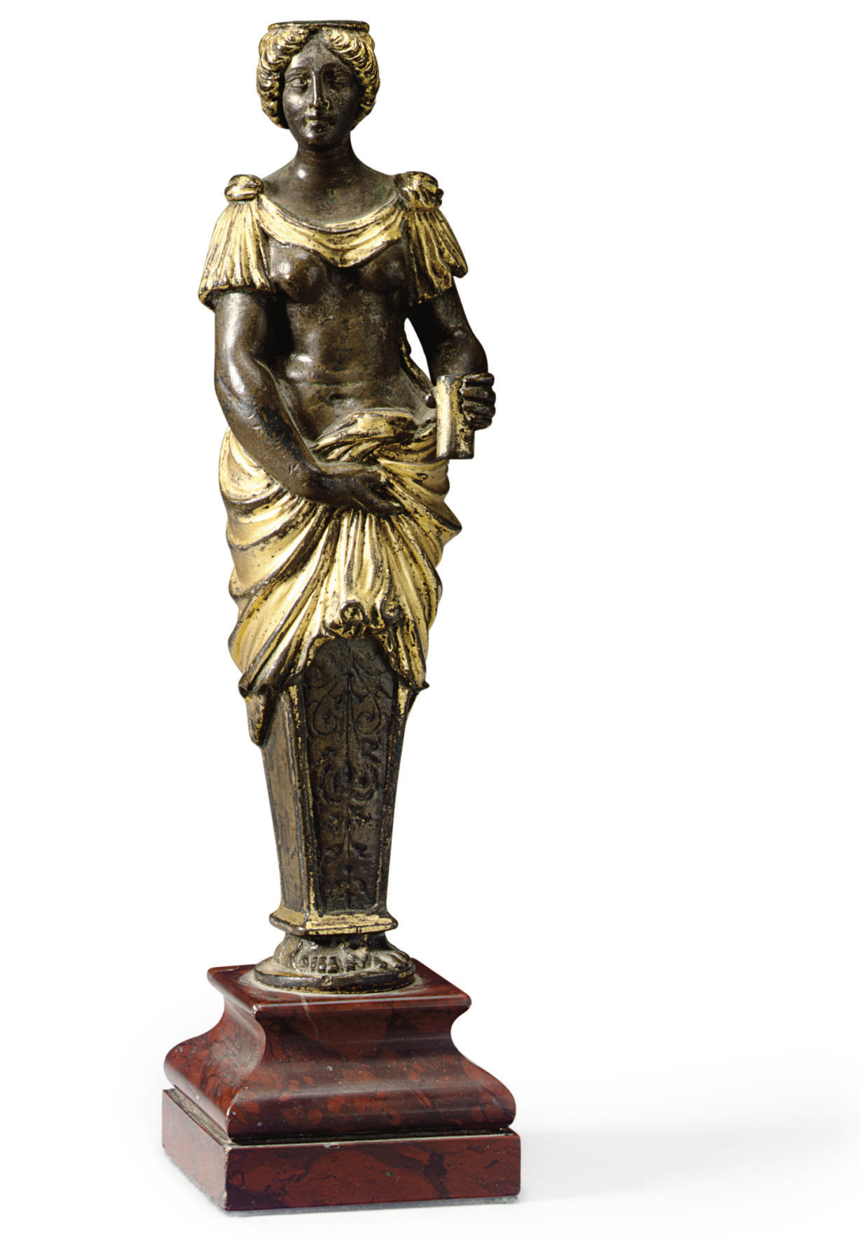 A GILT-BRONZE TERM FIGURE OF A