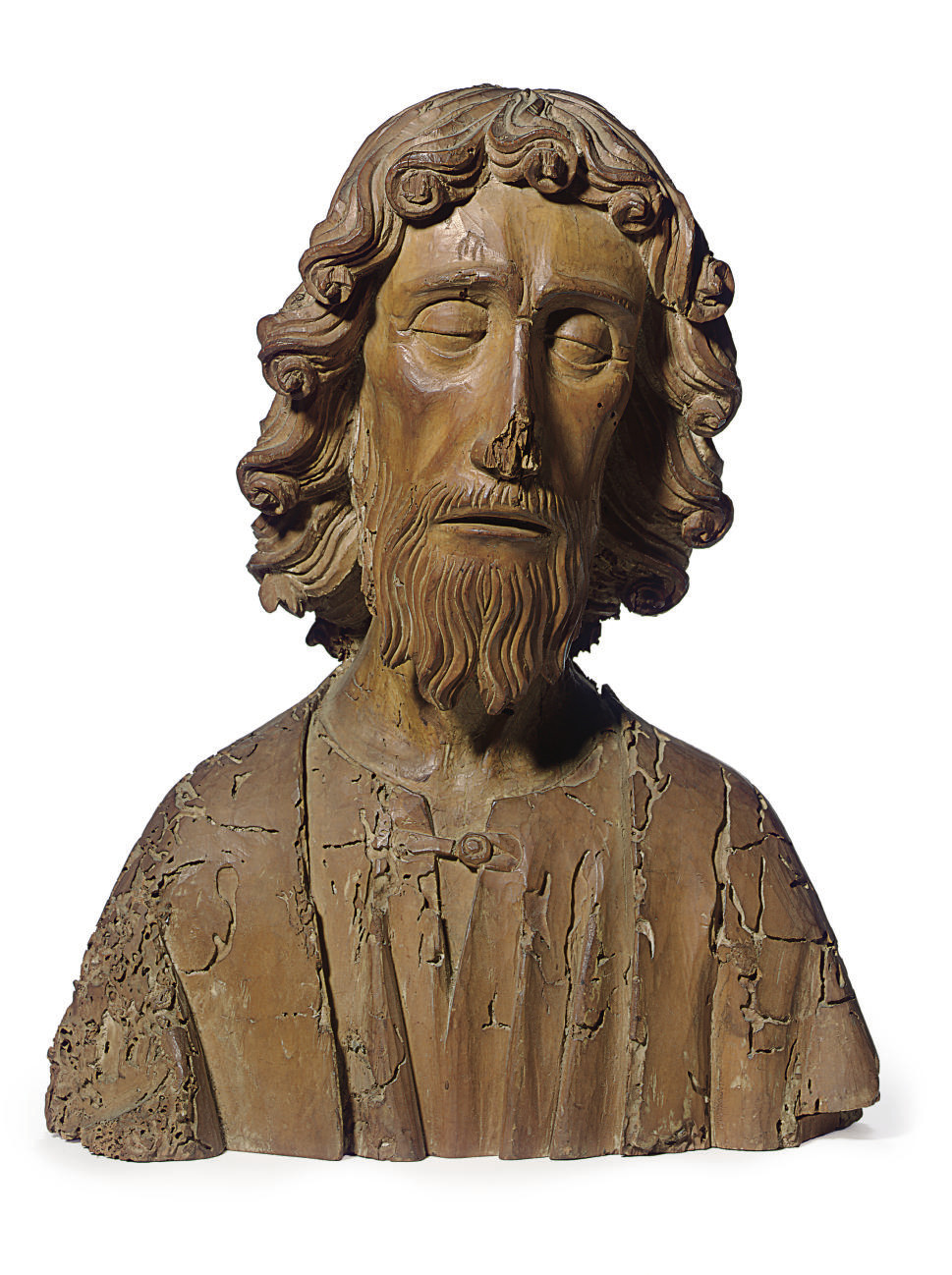 A CARVED LIMEWOOD BUST OF A SA