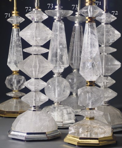 A PAIR OF ROCK CRYSTAL AND SIL