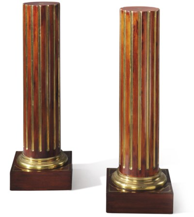 A PAIR OF RUSSIAN BRASS-INLAID