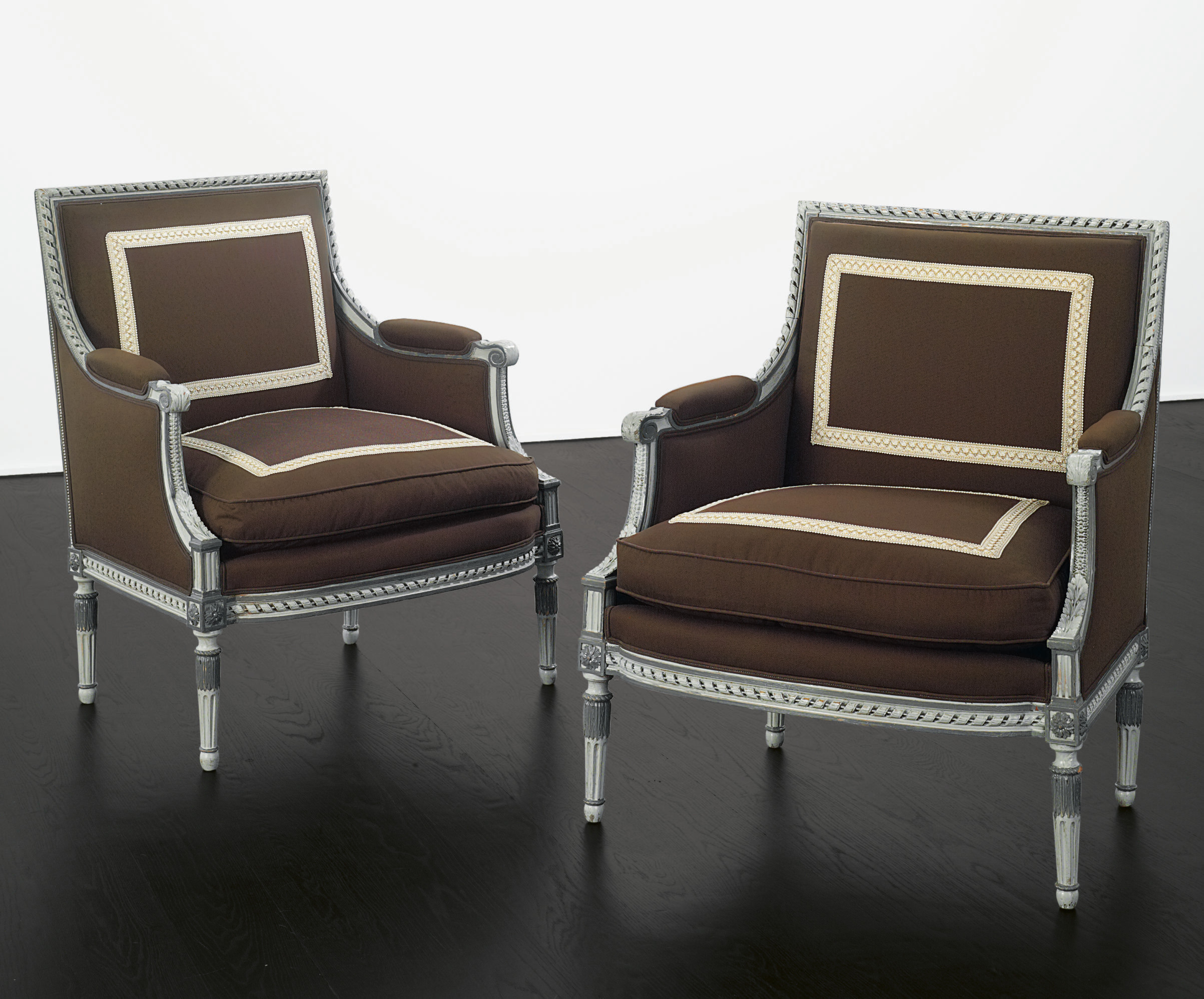 A PAIR OF FRENCH GREY-PAINTED