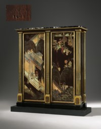 A FRENCH ORMOLU-MOUNTED EBONY, CHINESE COROMANDEL LACQUER AND OYSTER-VENEERED AND FAUX-GRAINED ARMOIRE