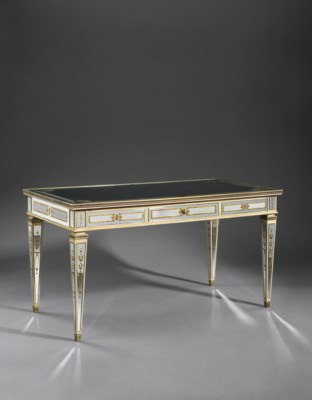 A FRENCH CREAM-PAINTED, MIRROR