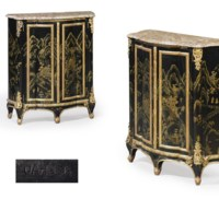 A PAIR OF FRENCH ORMOLU-MOUNTED BLACK AND GOLD JAPANNED AND PARCEL-GILT SMALL SIDE CABINETS