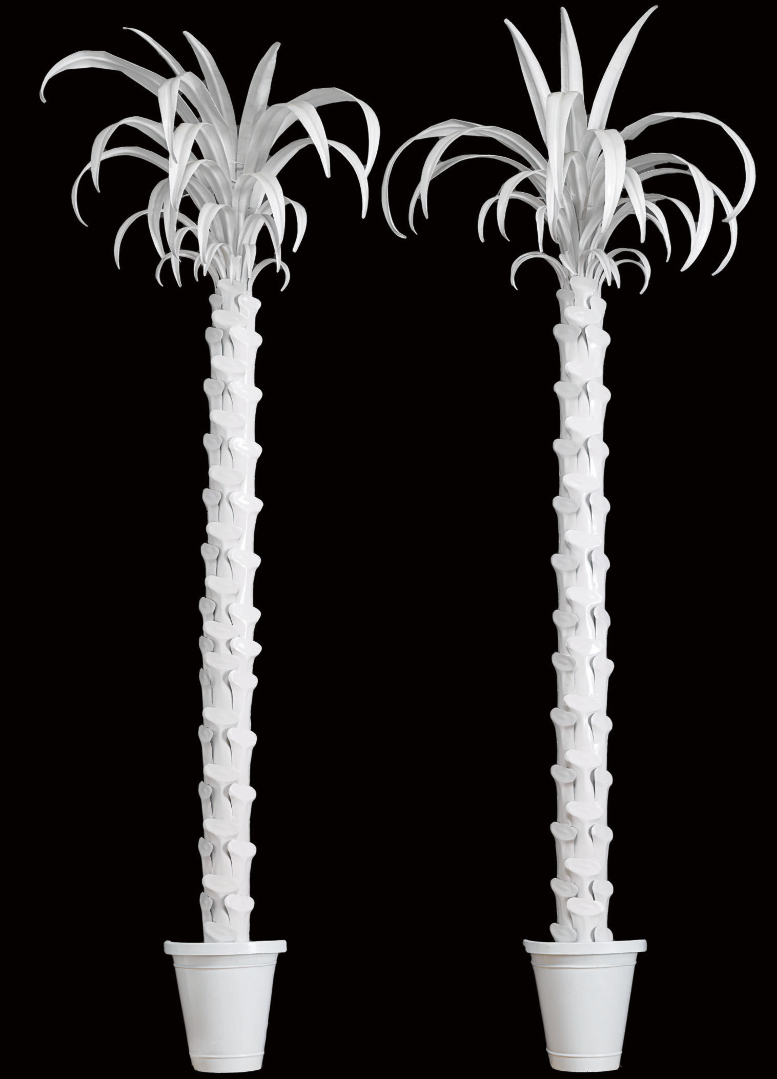 A PAIR OF WHITE-PAINTED METAL