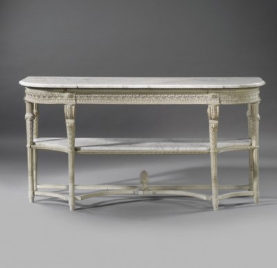 A FRENCH GREY-PAINTED CONSOLE