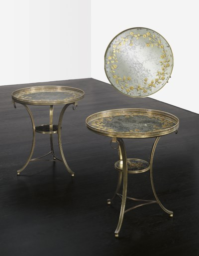 A PAIR OF VERRE EGLOMISE AND B