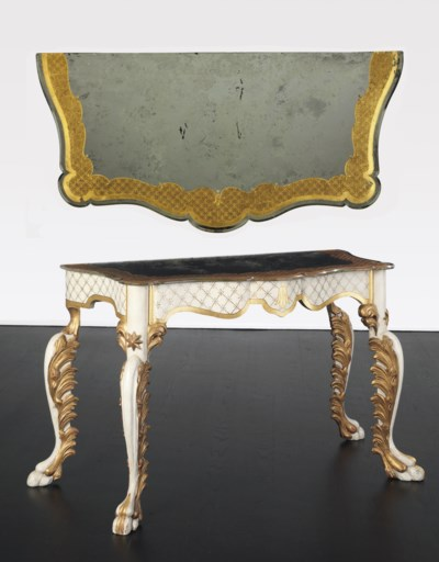 A CREAM-PAINTED, PARCEL-GILT A