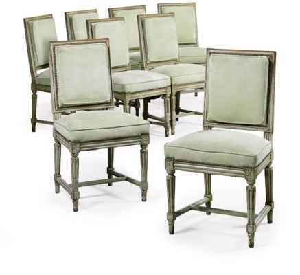 A SET OF EIGHT FRENCH GREY-PAI