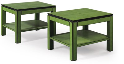 A PAIR OF GREEN FAUX-SHAGREEN-