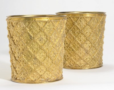 A PAIR OF GILT METAL JARDINIER