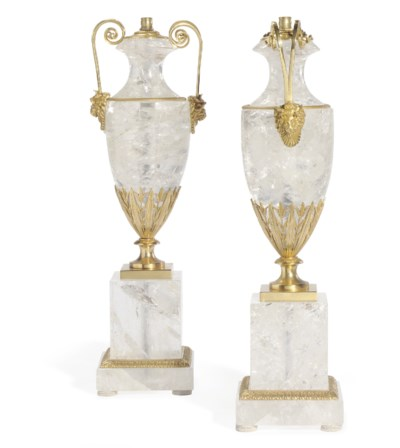 A PAIR OF ORMOLU AND ROCK CRYS