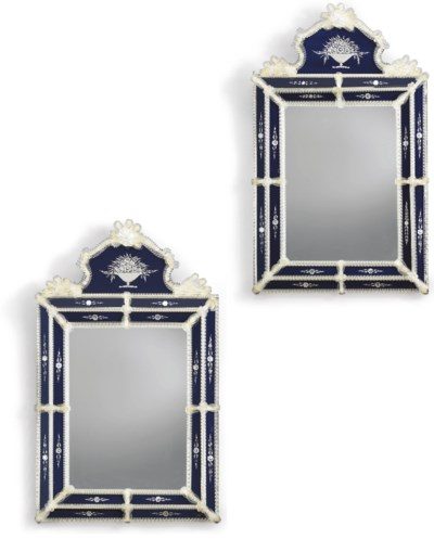 A PAIR OF COBALT BLUE, CLEAR A