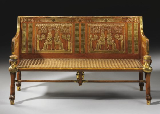 AN EGYPTIAN REVIVAL MAHOGANY A