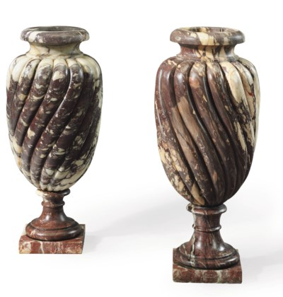 A PAIR OF PAVONAZZETTO MARBLE