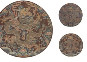 THREE IMPERIAL BROCADE CHESTNUT SATIN DRAGON ROUNDELS