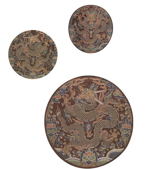 THREE IMPERIAL BROCADE CHESTNUT SATIN DRAGON ROUNDELS
