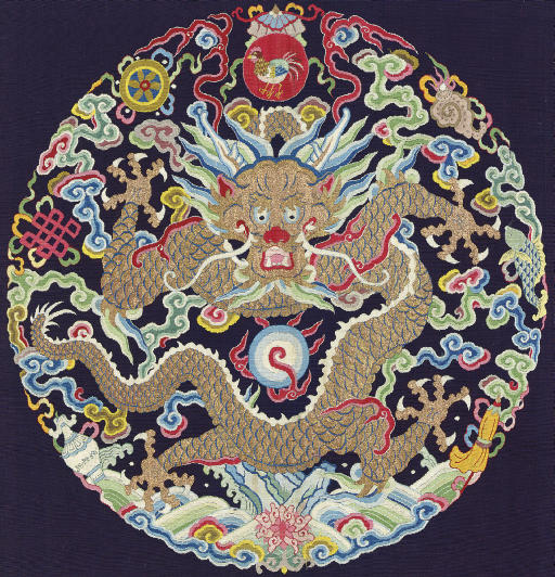 A FINE AND RARE IMPERIAL KESI DRAGON ROUNDEL FROM AN EMPEROR'S SURCOAT