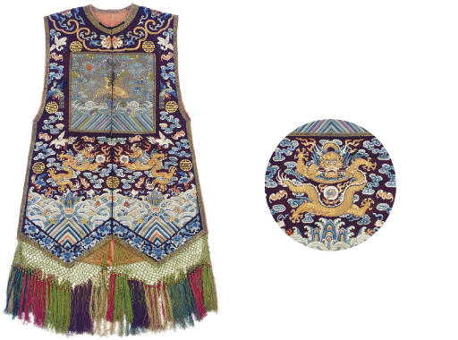 AN UNUSUAL EMBROIDERED GAUZE WOMAN'S VEST, XIAPEI