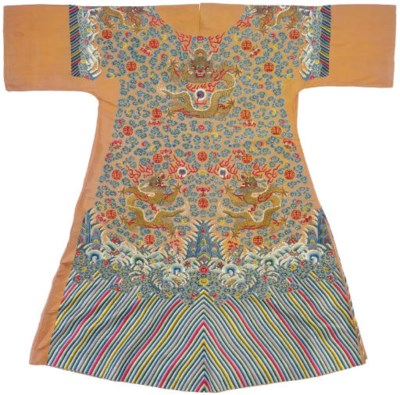 AN EMBROIDERED 'APRICOT-YELLOW