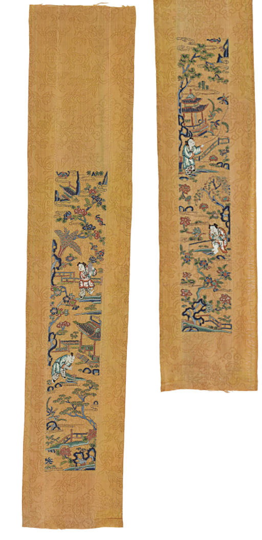A PAIR OF UNMADE EMBROIDERED O