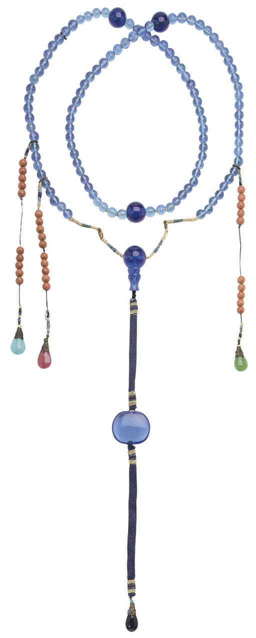 A BLUE-GLASS COURT NECKLACE, C