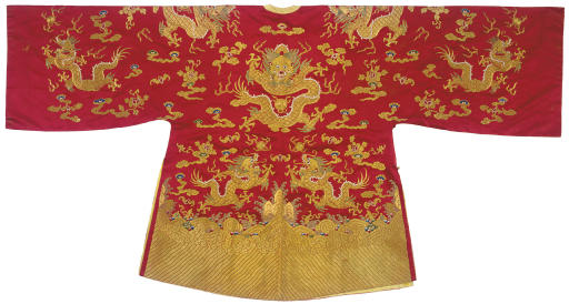 A RARE EMBROIDERED RED SATIN H