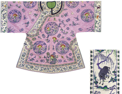 AN EMBROIDERED PINK SATIN HAN