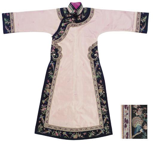 A MANCHU WOMAN'S PINK SILK INFORMAL ROBE, CHANGYI