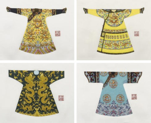 FOUR UNUSUAL EMBROIDERED SILK