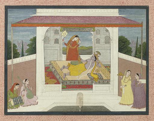 An illustration to the Krishnalila: Krishna beckons Radha to join him