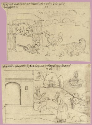 Two drawings from the Bhagavat