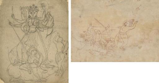 Two drawings of Durga