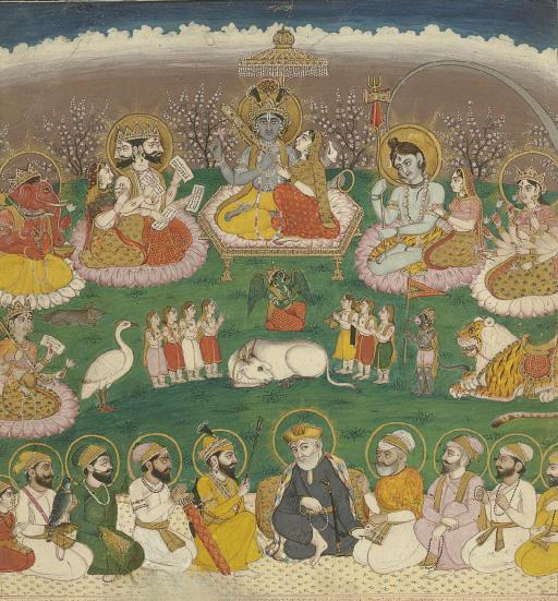 Eight Sikh gurus with Guru Nanak below Major Hindu Deities