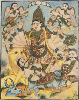 Durga fights a Buffalo Demon