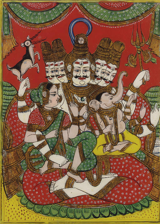 A reverse glass painting of Shiva, Parvati and Ganesh