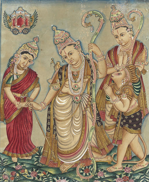 A painting of Rama, Sita, Laks