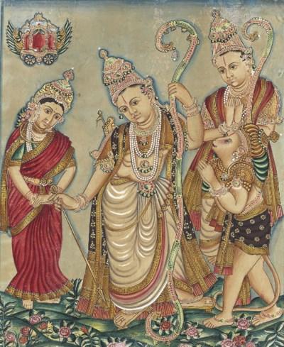 A painting of Rama, Sita, Laks