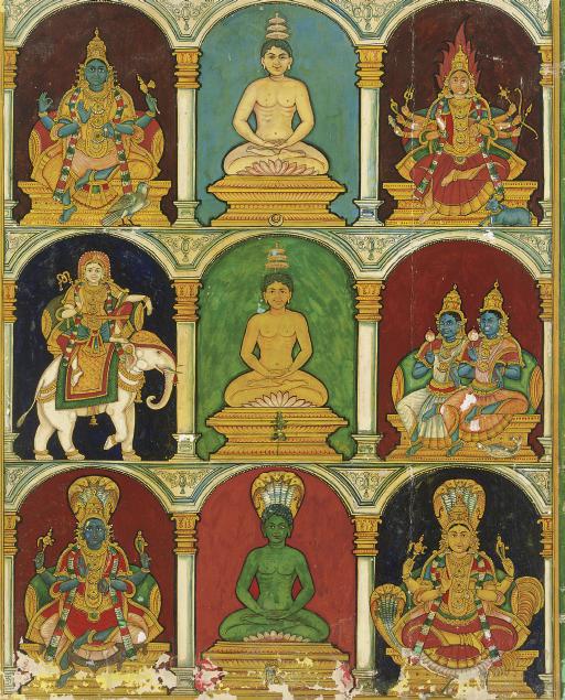 Three tirthankaras with their