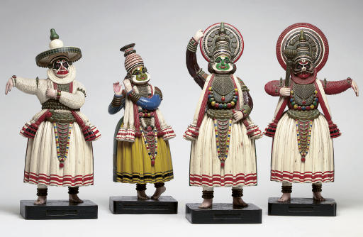 A group of four polychromed wo