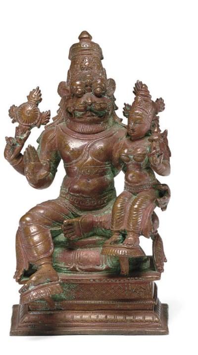 A copper figure of Narasimha