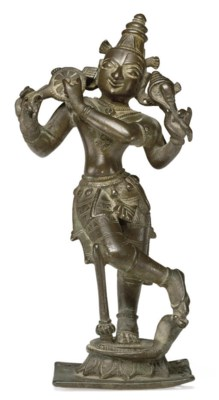 A brass figure of Venugopala